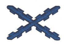 Parche Bordado Termoadhesivo Aspa Borgoña Azul 5,2x3,4 cm