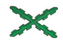 Parche Bordado Termoadhesivo Aspa Borgoña Verde 5,2x3,4 cm