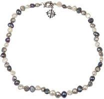 Amaya ARZUAGA - Gargantilla de Perlas - Modelo Dark Moon - Gargantilla de Perlas Multicolor cultivadas con Acabados en Plata de Ley 925