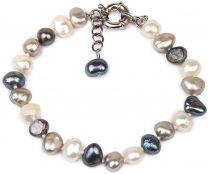 Amaya ARZUAGA - Pulsera de Perlas Modelo Dark Moon - Pulsera de Perlas cultivadas de Diferentes Tonos con Acabados en Playa de Ley 925