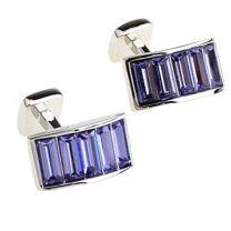 Gemelos Beour Purple Swarosky Stripes