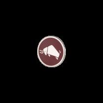 Broche de Solapa ALMAHISPANIA Bisonte Esmaltado en Rojo 18mm