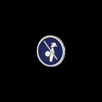 Broche de Solapa ALMAHISPANIA Quijote Esmaltado en Azul 18mm