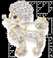 Broche Caniche Cristal 3,7 x 4,6 cm