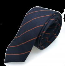 Corbata de Algodón Azul con Rayas Naranjas