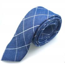 Corbata de Algodón Azul Rombos Blancos