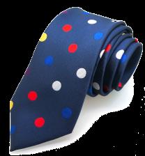 Corbata de Seda Azul con Topos Multicolores