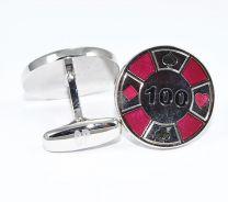 Gemelos para camisas Cracked Pepper Modelo Ficha de Poker - Red Poker Chip