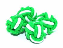 Gemelos Borla Bola Verde y Blanco