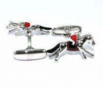 Gemelos para camisa Cracked Pepper Modelo Caballo de Carrera - Hand Painted Horseracing