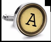 Gemelo de Camisa Magglass Boton de Maquina de Escribir Letra Letter A Mod 2 Medio Par