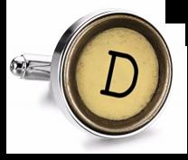 Gemelo de Camisa Magglass Boton de Maquina de Escribir Letra Letter D Mod 2 Medio Par