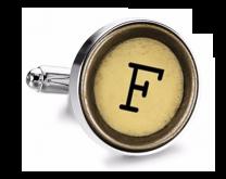 Gemelo de Camisa Magglass Boton de Maquina de Escribir Letra Letter F Mod 2 Medio Par