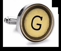 Gemelo de Camisa Magglass Boton de Maquina de Escribir Letra Letter G Mod 2 Medio Par