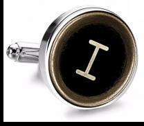 Gemelo de Camisa Magglass Boton de Maquina de Escribir Letra Letter I Medio Par