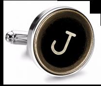 Gemelo de Camisa Magglass Boton de Maquina de Escribir Letra Letter J Medio Par