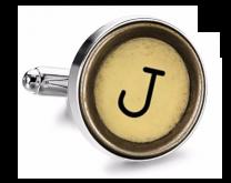 Gemelo de Camisa Magglass Boton de Maquina de Escribir Letra Letter J Mod 2 Medio Par