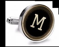Gemelo de Camisa Magglass Boton de Maquina de Escribir Letra Letter M Medio Par