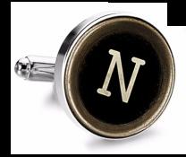 Gemelo de Camisa Magglass Boton de Maquina de Escribir Letra Letter N Medio Par