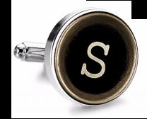Gemelo de Camisa Magglass Boton de Maquina de Escribir Letra Letter S Medio Par