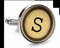 Gemelo de Camisa Magglass Boton de Maquina de Escribir Letra Letter S Mod 2 Medio Par