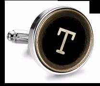 Gemelo de Camisa Magglass Boton de Maquina de Escribir Letra Letter T Medio Par