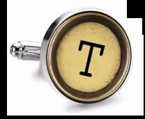 Gemelo de Camisa Magglass Boton de Maquina de Escribir Letra Letter T Mod 2 Medio Par