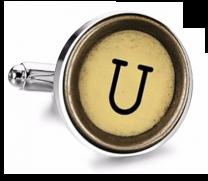 Gemelo de Camisa Magglass Boton de Maquina de Escribir Letra Letter U Mod 2 Medio Par