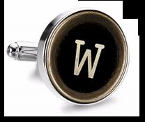 Gemelo de Camisa Magglass Boton de Maquina de Escribir Letra Letter W Medio Par