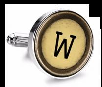 Gemelo de Camisa Magglass Boton de Maquina de Escribir Letra Letter W Mod 2 Medio Par
