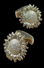 Gemelos de Camisa Girasol Plata 925 Bañada en Oro 15mm
