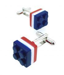 Gemelos de Camisa Brick Tricolor Azul Blanco y Rojo