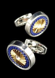 Gemelos de Camisa Nacar Azul y Dorado 18mm