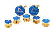 Gemelos de Camisa Stud Set Esmoquin Masonico Blue & Gold
