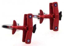 Gemelos para camisa Avión Biplano 3D Rojo