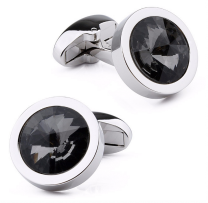 Gemelos para camisa Beour Rounded Black Crystal