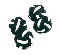 Gemelos para camisa Borla de Seda Bola Negro y Blanco