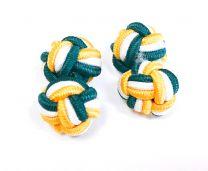 Gemelos para camisa Borla de Seda Bola Verde, Blanco y Amarillo