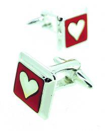 Gemelos para Camisa Corazón Rojo y Plateado San Valentín