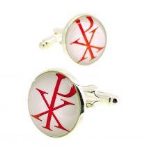 Gemelos para Camisa Cristograma Rojo y Blanco