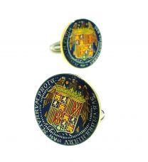 Gemelos para Camisa Plata de Ley 925 Replica Moneda de los Reyes Católicos Aguila de San Juan