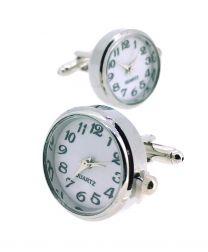 Gemelos para Camisa Reloj de Cuarzo Redondo Plateado