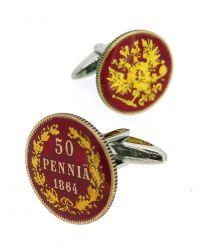 Gemelos para Camisa Replica Moneda 50 Pennia Finlandia 1864