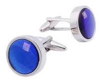 Gemelos para camisa Beour Rounded Blue and White Crystal Cuff