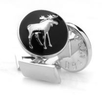 Gemelos para Camisa Skultuna Hunter Series The Moose - Serie Cazador Alce Plateado Negro