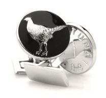 Gemelos para Camisa Skultuna Hunter Series The Pheasant - Serie Cazador Faisan Plateado Negro