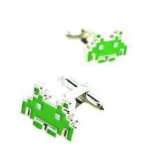 Gemelos para Camisa Space Invaders 8 bits Green