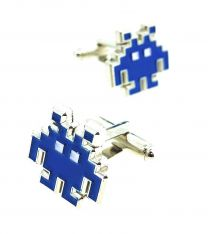 Gemelos para Camisa Space Invaders 8 bits Navy