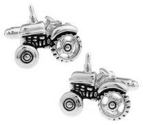 Gemelos para Camisa Tractor Plateado y Negro