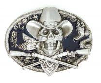 Hebilla de Cinturón Calavera Cowboy Acero 10,5cm